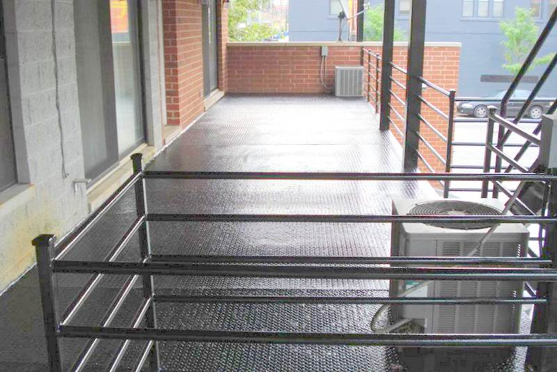 """Finished Epoxy Painted Metal Deck in Chicago Wicker Park is like """"New"""" Aardvark Painting"""