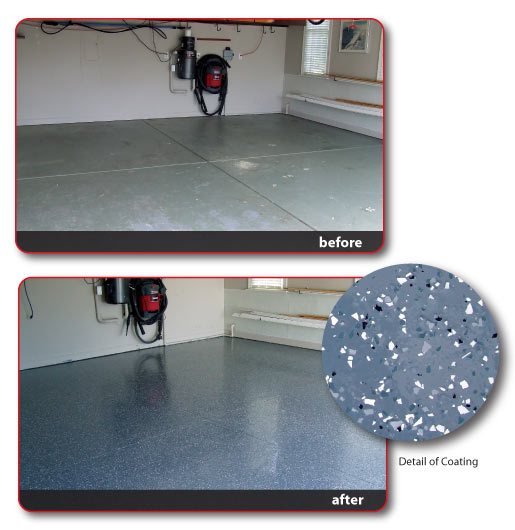 floor before and after epoxy garage floor 1 Epoxy Floors